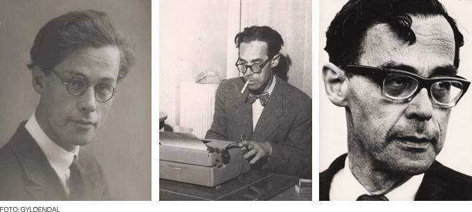 Tre portretter av Rolf Jacobsen; ett som ung mann, et ved skrivemaskinen og med den sedvanlige røyken og ett nærbilde. Foto: Gyldendal